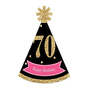 Chic 70th Birthday - Pink, Black and Gold - Personalized Mini Cone Birthday Party Hats - Small Little Party Hats - Set of 10