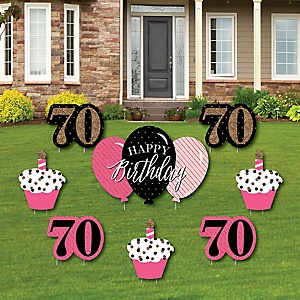 Chic 70th Birthday - Pink, Black and Gold - Yard Sign & Outdoor Lawn Decorations - Birthday Party Yard Signs - Set of 8