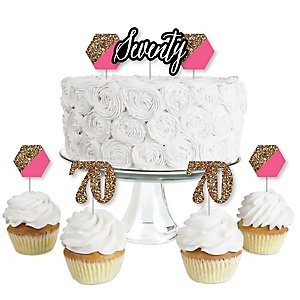 Chic 70th Birthday - Pink, Black and Gold - Dessert Cupcake Toppers - Birthday Party Clear Treat Picks - Set of 24