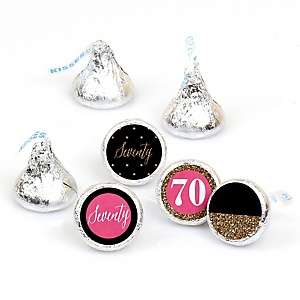 Chic 70th Birthday - Pink, Black and Gold - Round Candy Labels Birthday Party Favors - Fits Hershey's Kisses - 108 ct