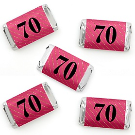 Chic 70th Birthday - Pink, Black and Gold - Mini Candy Bar Wrapper Stickers - Birthday Party Small Favors - 40 Count