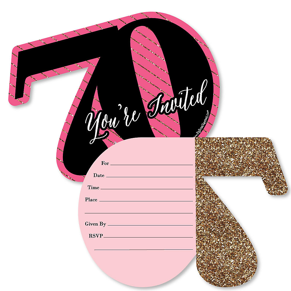 Chic 70th Birthday Pink Black And Gold Shaped Fill In Invitations Birthday Party Invitation Cards With Envelopes Set Of 12