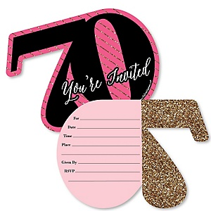 Chic 70th Birthday - Pink, Black and Gold - Shaped Fill-In Invitations - Birthday Party Invitation Cards with Envelopes - Set of 12