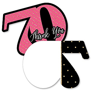 Chic 70th Birthday - Pink, Black and Gold - Shaped Thank You Cards - Birthday Party Thank You Note Cards with Envelopes - Set of 12
