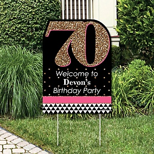 Chic 70th Birthday - Pink, Black and Gold - Party Decorations - Birthday Party Personalized Welcome Yard Sign