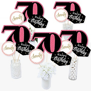 Chic 70th Birthday - Pink, Black and Gold - Birthday Party Centerpiece Sticks - Table Toppers - Set of 15