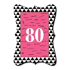 Chic 80th Birthday - Pink, Black and Gold - Unique Alternative Guest Book - 80th Birthday Party Signature Mat Gift