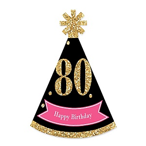 Chic 80th Birthday - Pink, Black and Gold - Personalized Mini Cone Birthday Party Hats - Small Little Party Hats - Set of 10