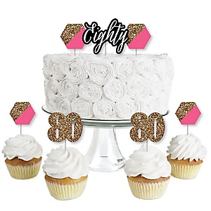 Chic 80th Birthday - Pink, Black and Gold - Dessert Cupcake Toppers - Birthday Party Clear Treat Picks - Set of 24