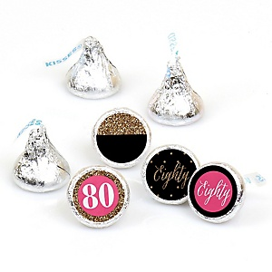 Chic 80th Birthday - Pink, Black and Gold - Round Candy Labels Birthday Party Favors - Fits Hershey's Kisses - 108 ct