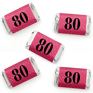 Chic 80th Birthday - Pink, Black and Gold - Mini Candy Bar Wrapper Stickers - Birthday Party Small Favors - 40 Count