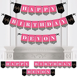 Chic 80th Birthday - Pink, Black and Gold - Birthday Party Bunting Banner & Decorations