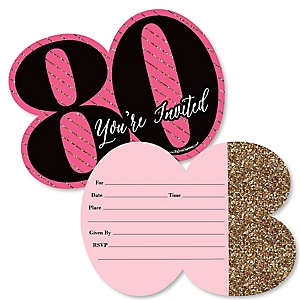 Chic 80th Birthday - Pink, Black and Gold - Shaped Fill-In Invitations - Birthday Party Invitation Cards with Envelopes - Set of 12