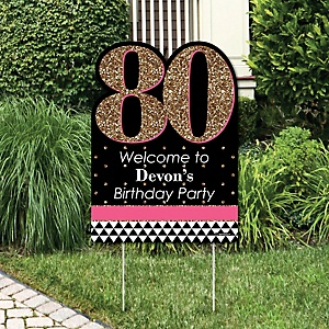 Chic 80th Birthday - Pink, Black and Gold - Party Decorations - Birthday Party Personalized Welcome Yard Sign