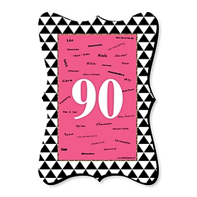 Chic 90th Birthday - Pink, Black and Gold - Unique Alternative Guest Book - 90th Birthday Party Signature Mat Gift