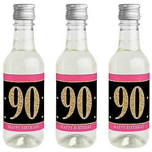 Chic 90th Birthday - Pink, Black and Gold - Mini Wine and Champagne Bottle Label Stickers - Birthday Party Favor Gift - For Women and Men - Set of 16