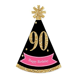 Chic 90th Birthday - Pink, Black and Gold - Personalized Mini Cone Birthday Party Hats - Small Little Party Hats - Set of 10