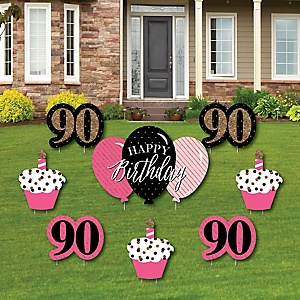 Chic 90th Birthday - Pink, Black and Gold - Yard Sign & Outdoor Lawn Decorations - Birthday Party Yard Signs - Set of 8