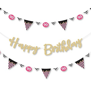 Chic 90th Birthday - Pink, Black and Gold - Birthday Party Letter Banner Decoration - 36 Banner Cutouts and No-Mess Real Gold Glitter Happy Birthday Banner Letters