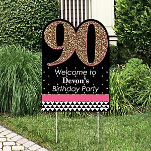Chic 90th Birthday - Pink, Black and Gold - Party Decorations - Birthday Party Personalized Welcome Yard Sign