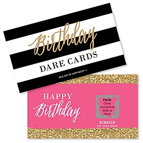 Chic Happy Birthday - Pink, Black and Gold - Birthday Party Scratch Off Dare Cards - 22 ct