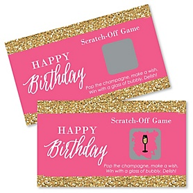 Chic Happy Birthday - Pink and Gold - Birthday Party Game Scratch Off Cards - 22 ct
