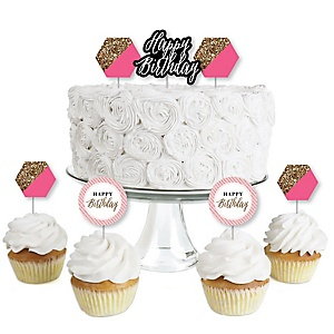 Chic Happy Birthday - Pink, Black and Gold - Dessert Cupcake Toppers - Birthday Party Clear Treat Picks - Set of 24
