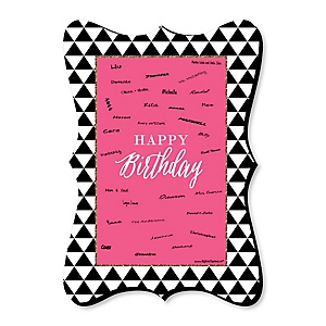 Chic Happy Birthday - Pink, Black and Gold - Unique Alternative Guest Book - Happy Birthday Party Signature Mat Gift