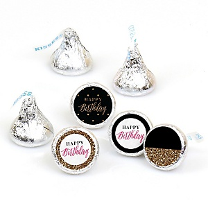 Chic Happy Birthday - Pink, Black and Gold - Round Candy Labels Birthday Party Favors - Fits Hershey's Kisses - 108 ct
