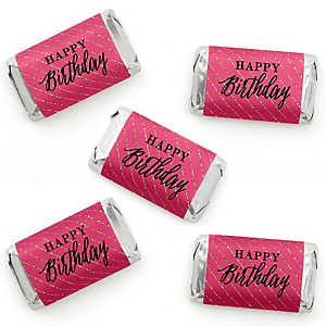 Chic Happy Birthday - Pink, Black and Gold - Mini Candy Bar Wrapper Stickers - Birthday Party Small Favors - 40 Count
