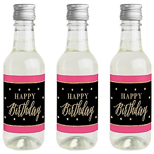 Chic Happy Birthday - Pink, Black and Gold - Mini Wine and Champagne Bottle Label Stickers - Birthday Party Favor Gift - For Women and Men - Set of 16
