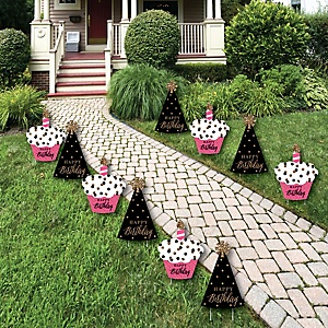 Chic Happy Birthday - Pink, Black and Gold Lawn Decorations - Outdoor Birthday Party Yard Decorations - 10 Piece