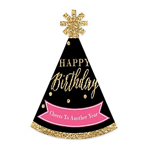 Chic Happy Birthday - Pink, Black and Gold - Personalized Mini Cone Birthday Party Hats - Small Little Party Hats - Set of 10