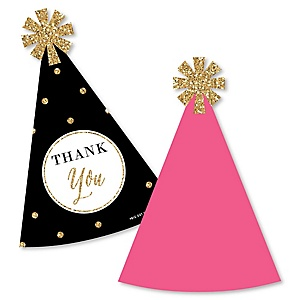 Chic Happy Birthday - Pink, Black and Gold - Shaped Thank You Cards - Birthday Party Thank You Note Cards with Envelopes - Set of 12