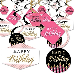 Chic Happy Birthday - Pink, Black and Gold - Birthday Party Hanging Decor - Party Decoration Swirls - Set of 40