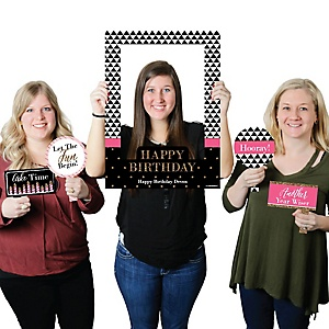 Chic Happy Birthday - Pink, Black and Gold - Personalized Birthday Party Selfie Photo Booth Picture Frame & Props - Printed on Sturdy Material