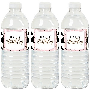 Chic Pink, Black and Gold - Happy Birthday - Birthday Party Water Bottle Sticker Labels - Set of 20