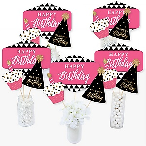 Chic Happy Birthday - Pink, Black and Gold - Birthday Party Centerpiece Sticks - Table Toppers - Set of 15