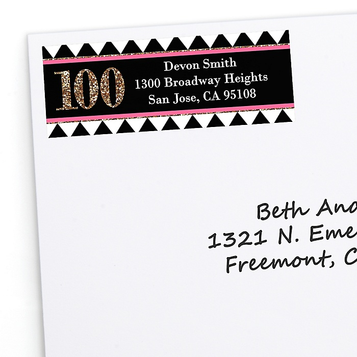 Chic 100th Birthday - Pink, Black and Gold - Personalized Birthday Party Return Address Labels - 30 ct