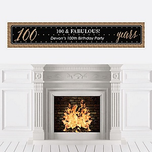Chic 100th Birthday - Black and Gold - Personalized Birthday Party Banners
