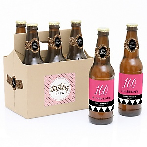 Chic 100th Birthday - Pink, Black and Gold - Decorations for Women and Men - 6 Beer Bottle Labels and 1 Carrier - Birthday Gift