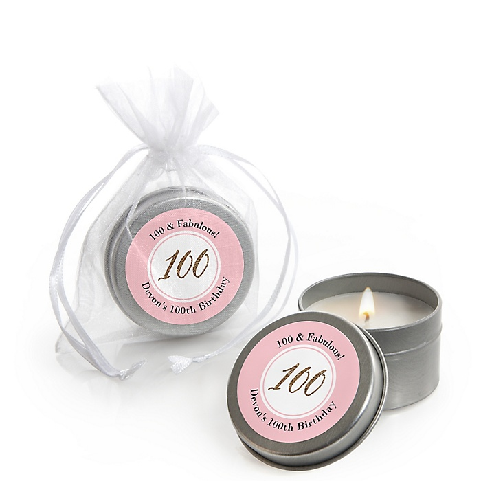 Chic 100th Birthday - Pink, Black and Gold - Personalized Birthday Party Candle Tin Favors - Set of 12