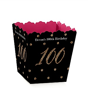 Chic 100th Birthday - Pink, Black and Gold - Party Mini Favor Boxes - Personalized Birthday Party Treat Candy Boxes - Set of 12