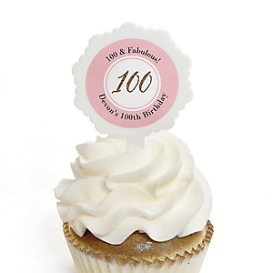 Chic 100th Birthday - Pink, Black and Gold - Personalized Birthday Party Cupcake Pick and Sticker Kit - 12 ct