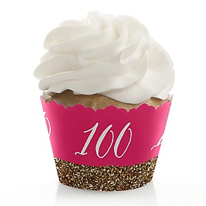 Chic 100th Birthday - Pink and Gold - Birthday Decorations - Party Cupcake Wrappers - Set of 12