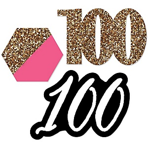 Chic 100th Birthday - Pink, Black and Gold - DIY Shaped Party Paper Cut-Outs - 24 ct