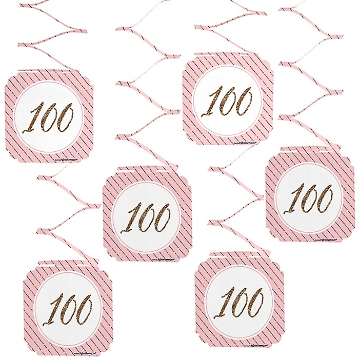 Chic 100th Birthday - Pink and Gold - Birthday Party Hanging Decorations - 6 ct