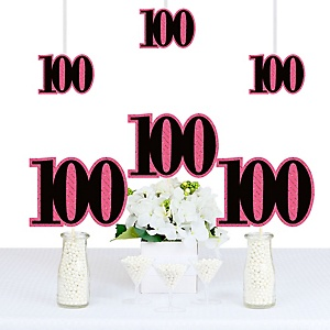 Chic 100th Birthday - Pink, Black and Gold - Decorations DIY Party Essentials - Set of 20
