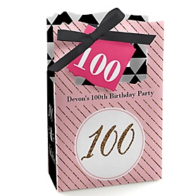 Chic 100th Birthday - Pink, Black and Gold - Personalized Birthday Party Favor Boxes - Set of 12