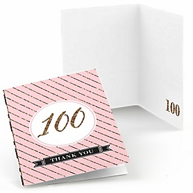 Chic 100th Birthday - Pink, Black and Gold - Birthday Party Thank You Cards - 8 ct